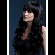 Fever Isabelle Wig, Black, Long Soft Curl with Fringe