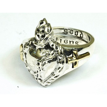 OPEN  SACRED HEART RING WITH GOLD DETAILS