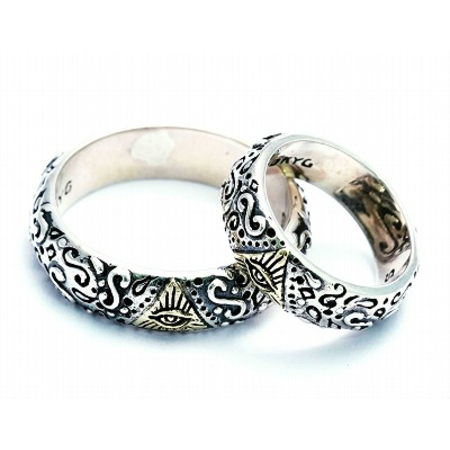 GOOD VIBRATIONS engraved silver band rng with gold detail all seeing eye