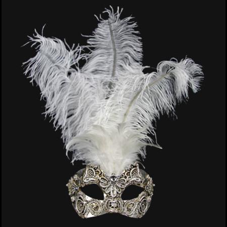 Colombina Piume Macramè Silver White feather