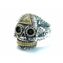 OPEN SUGAR SKULL RiNG WITH GOLD ALL SEEING EYE DETAIL