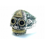 GOOD VIBRATIONS OPEN SUGAR SKULL RiNG WITH GOLD ALL SEEING EYE DETAIL