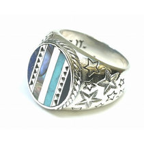 SIGNET RING WITH SHELL AND TURQUOISE INLAY