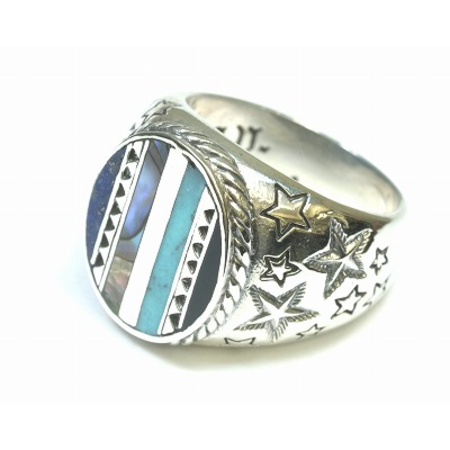 GOOD VIBRATIONS SIGNET RING WITH SHELL AND TURQUOISE INLAY