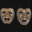 Commedia Tragedia Bronze  - set of 2
