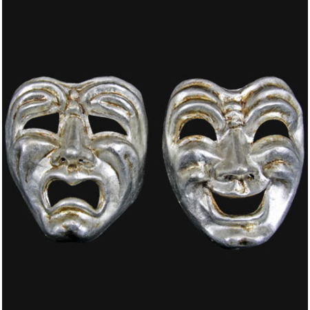 Commedia-Tragedia Silver Set of two