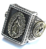 GOOD VIBRATIONS Lady of Guadalupe ST MARIA RING IN 925 SILVER