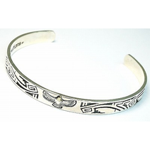 AZTEC BANGLE WITH GOLDEN EAGLE 925 SILVER
