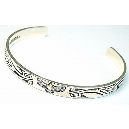 GOOD VIBRATIONS AZTEC BANGLE WITH GOLDEN EAGLE 925 SILVER