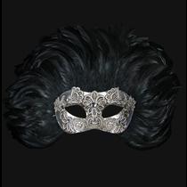 Combina Piume Reale Macramè Silver Black Venetian Mask