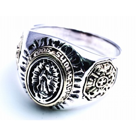 GOOD VIBRATIONS ST MARIA CARTEL RING 925 SILVER WITH BRASS INLAY
