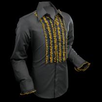 Chenaski Ruffle Mens Shirt Rusche Black (Gold Trim)