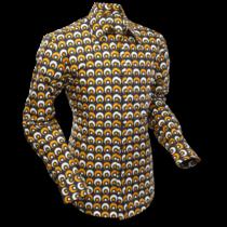 Chenaski Mens Shirt Eyeball Circles Black Yellow