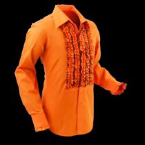 Chenaski Ruffle Mens Shirt Rusche  Orange (Brown Trim)
