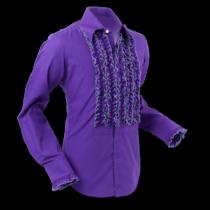 Chenaski Ruffle Mens Shirt Rusche  Purple (Grey Trim)