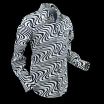 Chenaski Mens Shirt Wavy Line Creme & Black