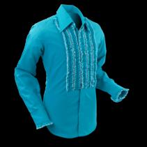 Chenaski Ruffle Mens Shirt Rusche Turquoise (Creme Trim)