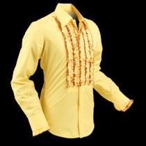 Chenaski Ruffle Mens Shirt Rusche Yellow (Bordeaux Trim)