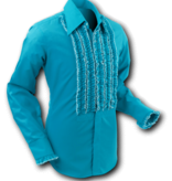 Pete Chenaski Chenaski Ruffle Mens Shirt Rusche Turquoise (Creme Trim)