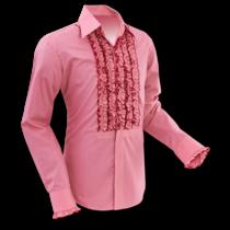 Chenaski Ruffle Mens Shirt Rusche  Old Rose (Red)