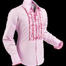 Chenaski Ruffle Mens Shirt Rusche  Rose Pink (Dark Pink Trim)