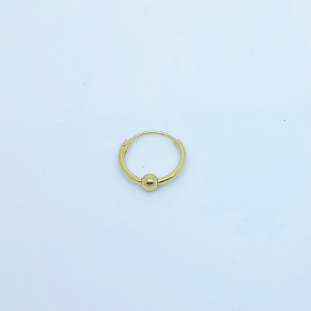 SO HIGH SILVER SLEEPER 64- 12 MM GOLD PLATED  HINGED SILVER SLEEPER WITH BALL DETAIL