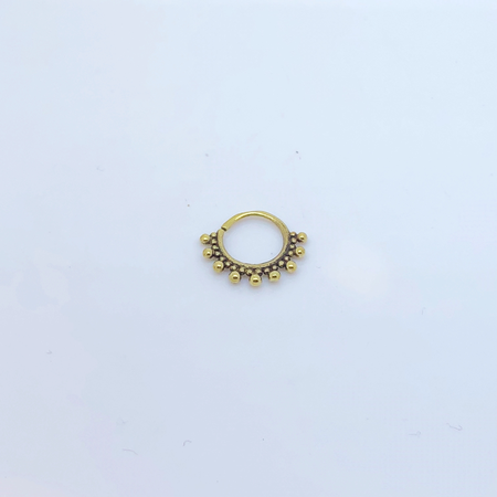 SO HIGH SILVER SLEEPER 20 14MM PIERCED SEPTUM  IN BRASS WITH TRIBAL DETAILS