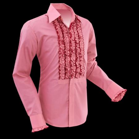 Pete Chenaski Chenaski Ruffle Mens Shirt Rusche  Old Rose (Red)