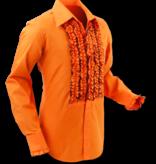 Pete Chenaski Chenaski Ruffle Mens Shirt Rusche  Orange (Brown Trim)