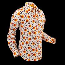 Chenaski Mens Shirt Dots & Spots Orange Large