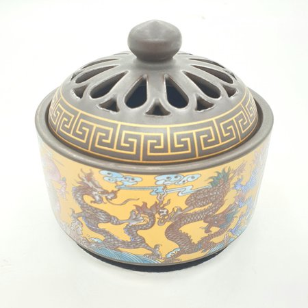 LUXURY RESIN BURNER - GOLD WITH DRAGONS
