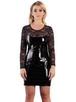 Black Level Lak/ Vinyl dress with lace black