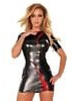 Ledapol Datex dress with zip at back black/red