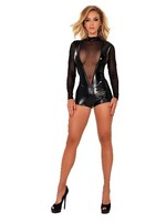 Ledapol Datex body with tulle sleeves black