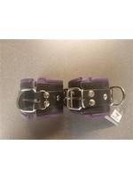 H.G. Leathers Bondage ankle cuffs black/purple