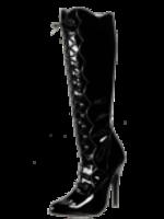 H.G. Leathers Knielaars lak zwart
