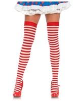 Leg Avenue Striped nylon thigh highs 75 den red/white