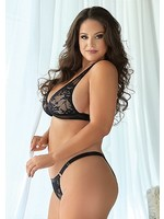 Allure Lace and mesh bralette and panty black