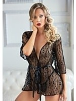 Allure Leopard lace robe with g-string black OneSize PLUS