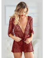 Allure Leopard lace robe with g-string burgundy OneSize