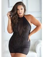 Allure Felicity leopard and mesh halter dress black