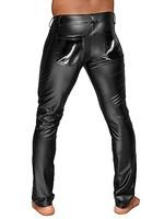 Noir Handmade Wetlook trousers with pvc pleats black