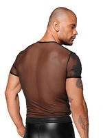 Noir Handmade See-through t-shirt with pvc pleats black