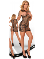 Ledapol Printed latex dress with zip black