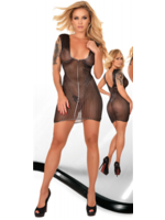 Ledapol Printed datex mini dress black