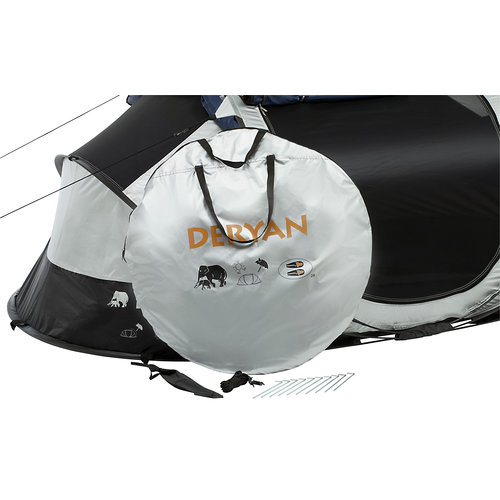 DERYAN DERYAN Luxe Cocoon Pop Up Tent Anti Uv Fps 50+ 2 Seconds - Zilver/ Zwart - 2 Persoons