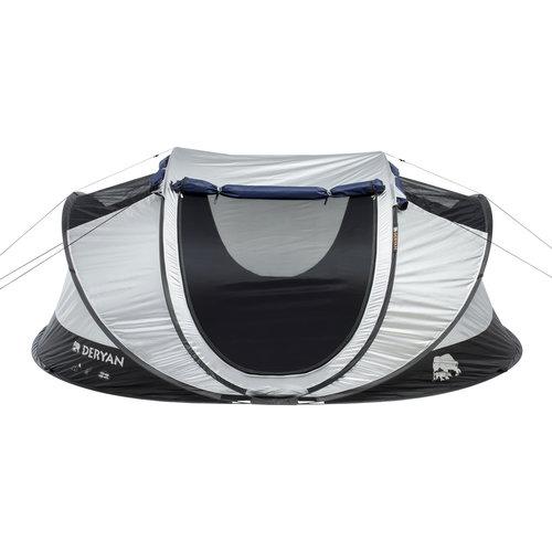 DERYAN DERYAN Luxe Cocoon Pop Up Tent Anti Uv Fps 50+ 2 Seconds - Zilver/ Zwart - 4 Persoons