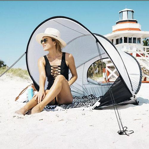 DERYAN DERYAN LUXE Pop Up Strandtent XXL -  Anti-UV FPS 50+ - Cream/Silver