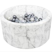 Ballenbak Rond 90x40 | White Marble