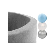 Ballenbak Rond 90x30 | Licht Grijs incl. 150 ballen (Pearl/Silver/Light Blue)